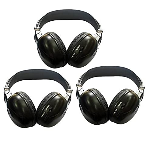 3 Pack of Two Channel Folding Universal Rear Entertainment System Infrared Headphones Wireless IR DVD (Grande E Capi Di Alto)