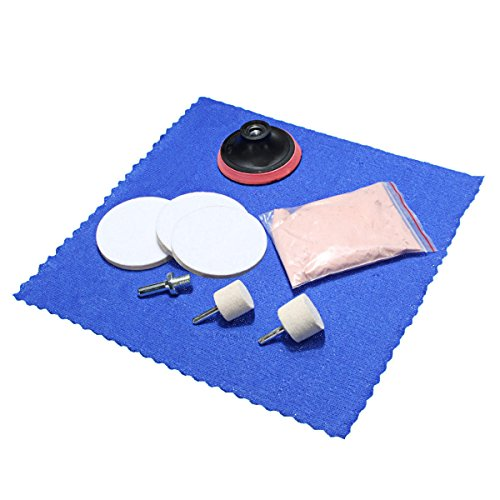 8Pcs Glass Scrach Remover with Cerium Oxide Powder Polishing Kit 3 Inch Wheel