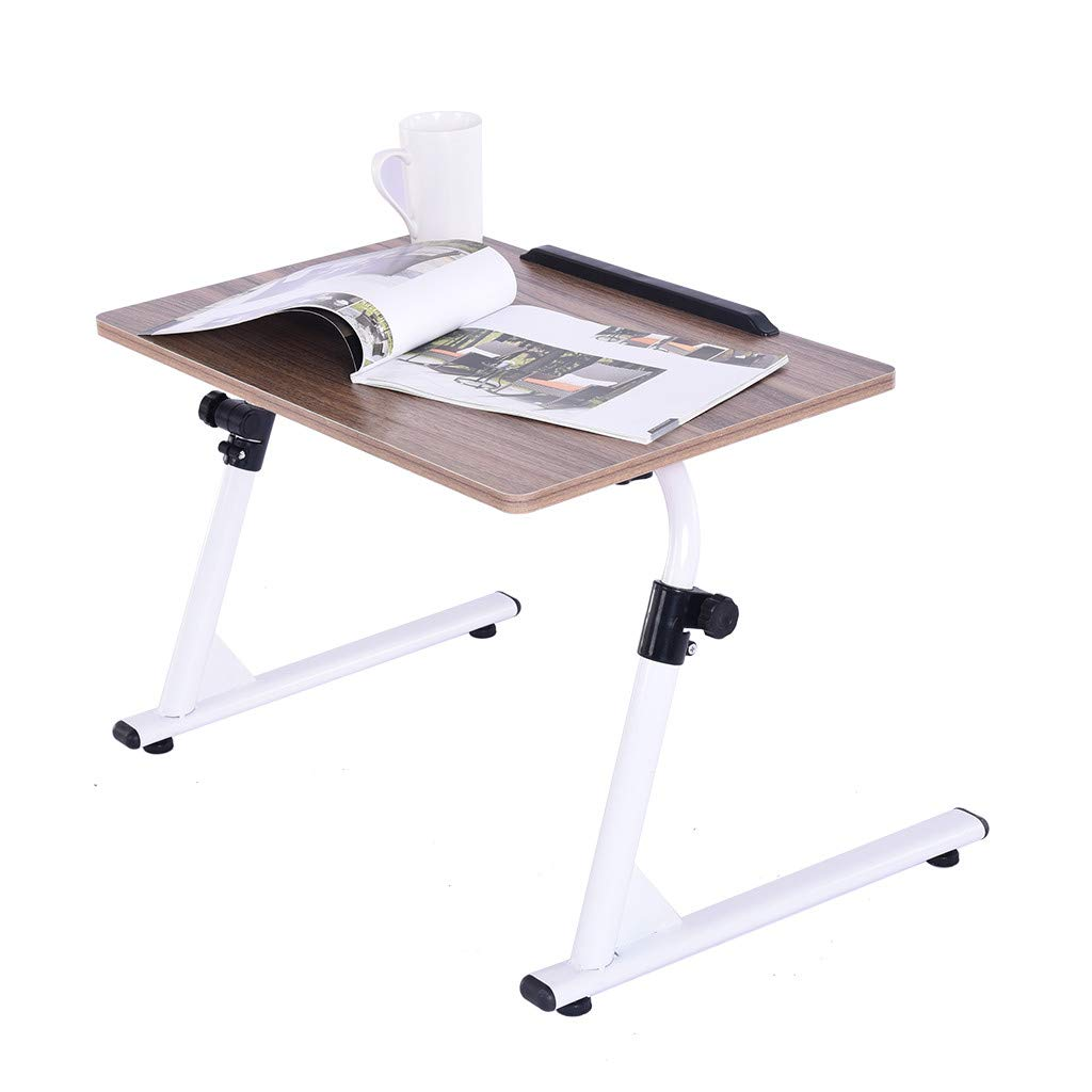 Yikey Home Office Desk with Raise and Lower The Folding TV Tray Gold Computer Table