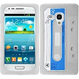 White Blue Cassette Tape Silicon Soft Rubber Skin Case Cover For Samsung Galaxy i8190 S 3 S3 III Mini with Free Pouch