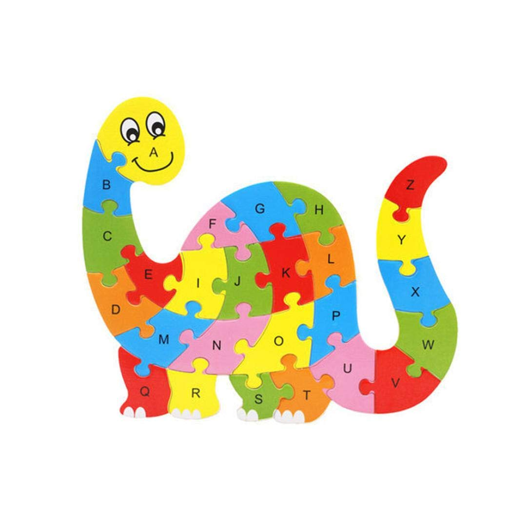 Roysberry Toys - Wooden Educational Preschool Dinosaur Monster Lion 3D Puzzle Shape Color Recognition Geometric Board English Alphabet Puzzle Toys - Birthday Gift Toy Jigsaw Puzzles for Kids(26 pcs)