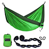 OKWINT Double Camping Hammock Garden Hammock Ultralight Nylon Portable Hammock, Heavy-duty 500lbs Parachute Hammock for Backpacking, Camping, Travel, Bea (Blackish Green & Green, Double) Review