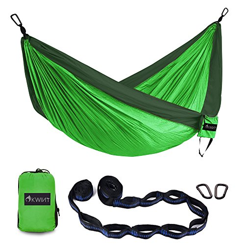 OKWINT Double Camping Hammock Garden Hammock Ultralight Nylon Portable Hammock, Heavy-duty 500lbs Parachute Hammock for Backpacking, Camping, Travel, Bea (Blackish Green & Green, Double)