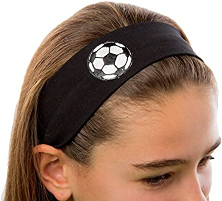 Funny Girl Designs Cotton Soccer Ball Patch Stretch Headband for Girls  Teens and Adults - Soccer Team Gifts 8dedf4cd21d