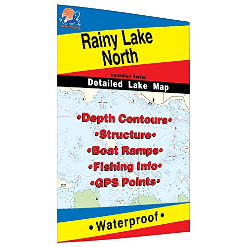 Rainy - North Fishing Map, Lake (includes Redgut Bay Fishing Map, Manitou Sound Fishing Map, Northeast and Northwest bays)