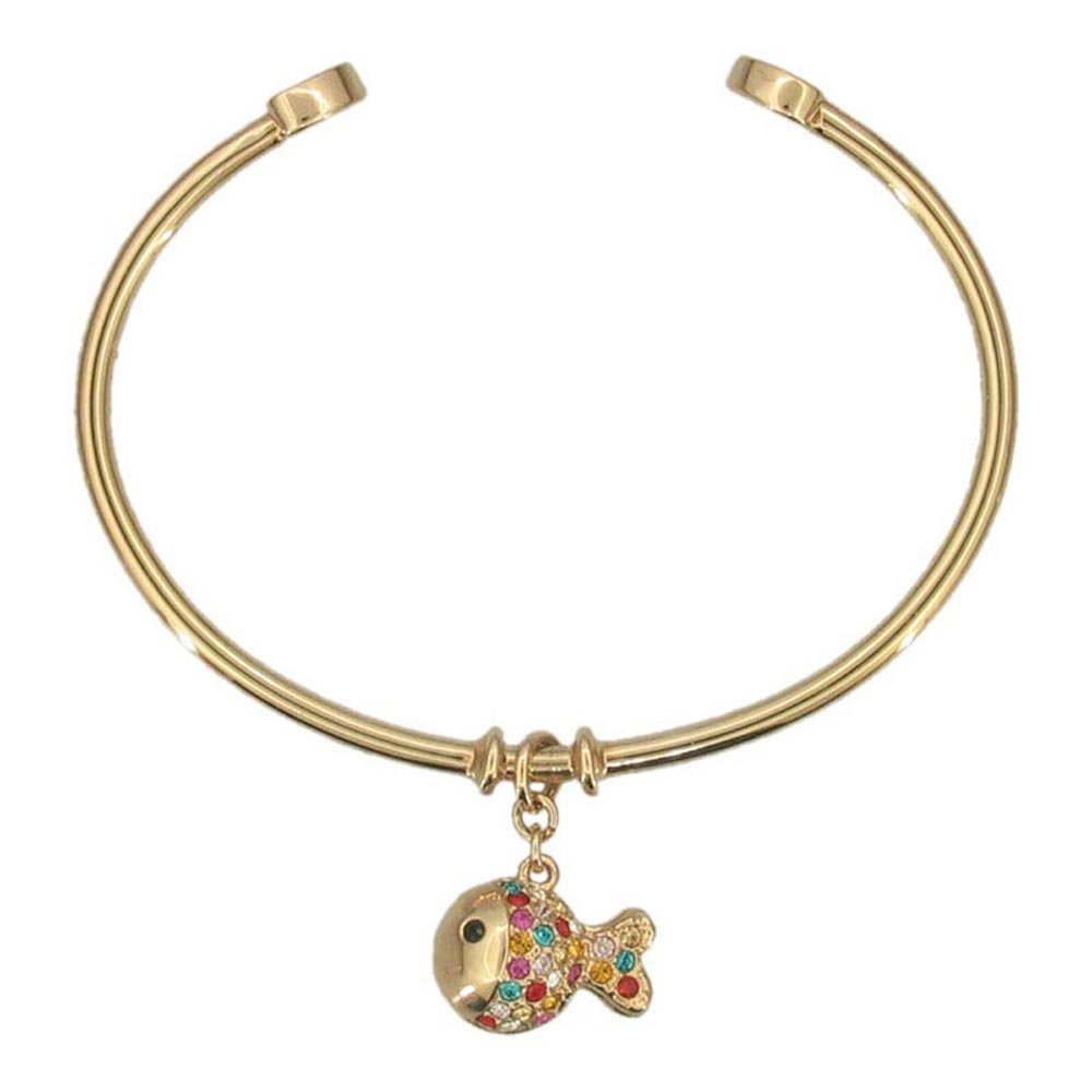 Gold Fish Bangle Dainty Hand Painted Multicolor Gold Plated Crystal Charm Bracelet Nautical Ocean Jewelry RSB1156