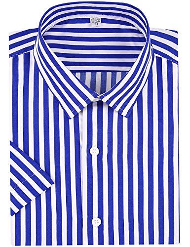(DOKKIA Men's Business Short Sleeve Vertical Striped Dress Shirts (Blue White, Small) )