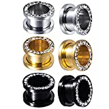 BodyJ4You 3 Pairs Screw Fit Ear Gauge Hollow Tunnels 12mm (1/2 Inch) CZ Crystal Jeweled Plugs Stretcher Set
