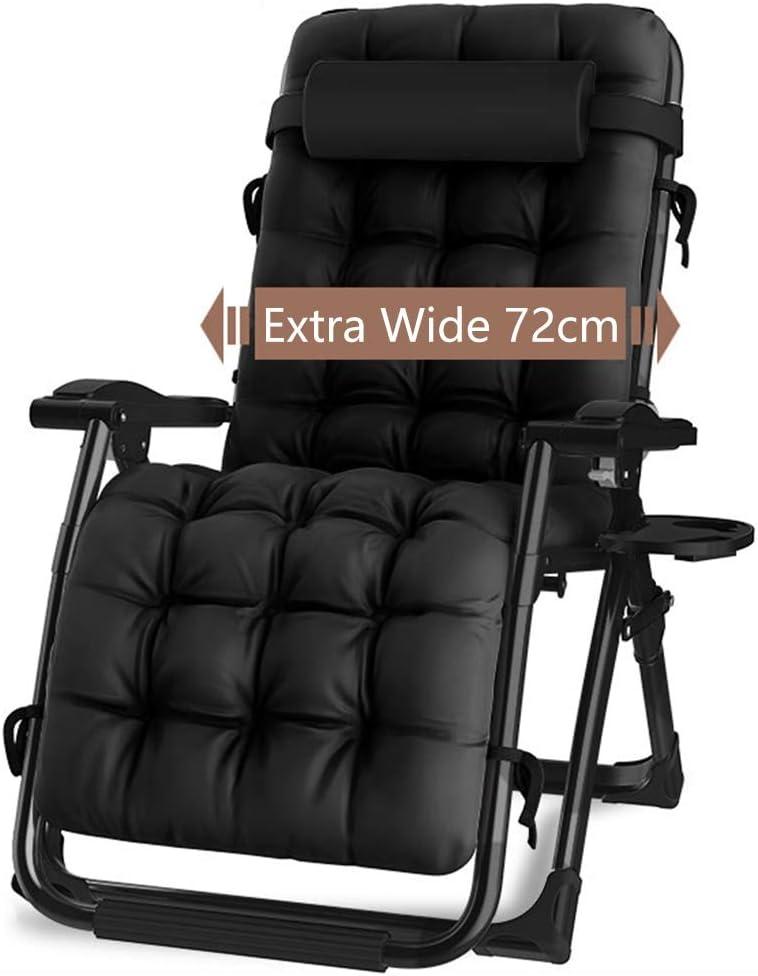Tumbonas Silla acolchada premium de gravedad cero - Tumbona plegable reclinable ajustable con portavasos y almohada para la cabeza - Para la cubierta interior del patio de la sala de estar del inverna