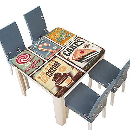 PINAFORE Fitted Polyester Tablecloth Vintage Candy Shop Collection tin Signs Multicolor 41 x 41 INCH (Elastic Edge)