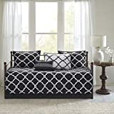 Madison Park Essentials Merritt Daybed Size Quilt Bedding Set - Black, Geometric – 6 Piece Bedding Quilt Coverlets – Ultra Soft Microfiber Bed Quilts Quilted Coverlet