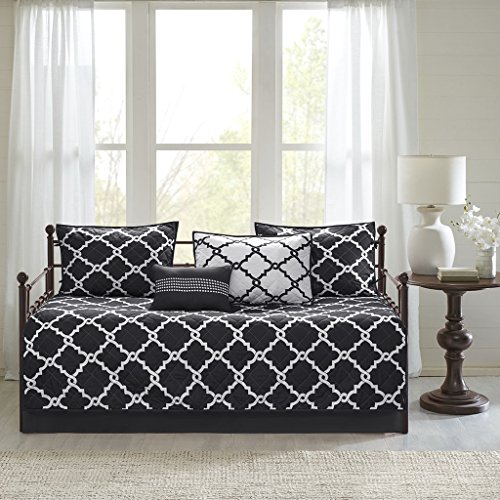 (Madison Park Essentials Merritt Daybed Size Quilt Bedding Set - Black, Geometric - 6 Piece Bedding Quilt Coverlets - Ultra Soft Microfiber Bed Quilts Quilted Coverlet)