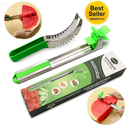 (Xpeciall Stainless Steel Watermelon Slicer - Melon and Cantaloupe Fruit Cutter  Knife Kitchen Gadgets - Great For Salads, Desserts (Two styles))