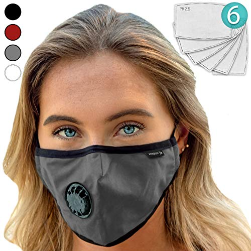 Face Mask: Best Air Pollution UNIVERSAL FIT Dust Masks + 6 N99 Filter. Carbon Respirator & DustProof Safety Cover Mouth from Gas Exhaust Smoke, Pollen, Paint Use Cycling Running Women Men Kids (GRAY)
