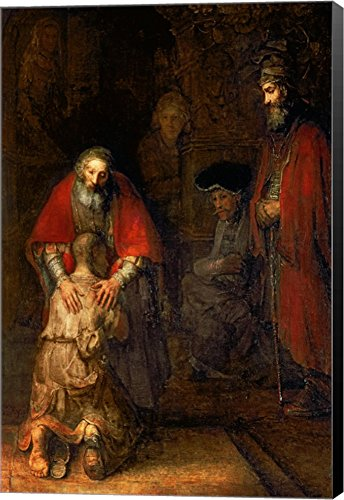 (Return of The Prodigal Son, c.1668 by Rembrandt Van Rijn Canvas Art Wall Picture, Museum Wrapped with Black Sides, 25 x 38 inches)