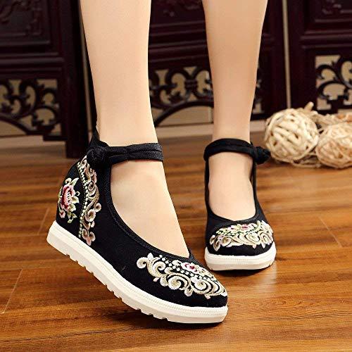 Étnico De Bordados Tamaño Cómodo Informal Lino Zapatos Negro Moda color Femeninos Tendón Estilo Eeayyygch Suela 37 Aumentados nqFw01x1I