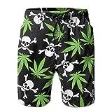 confirm vt Marijuana Skull Skeleton Men's Summer Beach Quick-Dry Surf Swim Trunks Boardshorts Cargo Pants