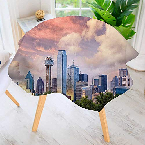 Round Tables in Washable Polyester- Dallas City Skyline at Clouds Texas Highrise Skyscrapers Landmark Tablecloth –Ideal for Home, Restaurants, Cafés 35.5