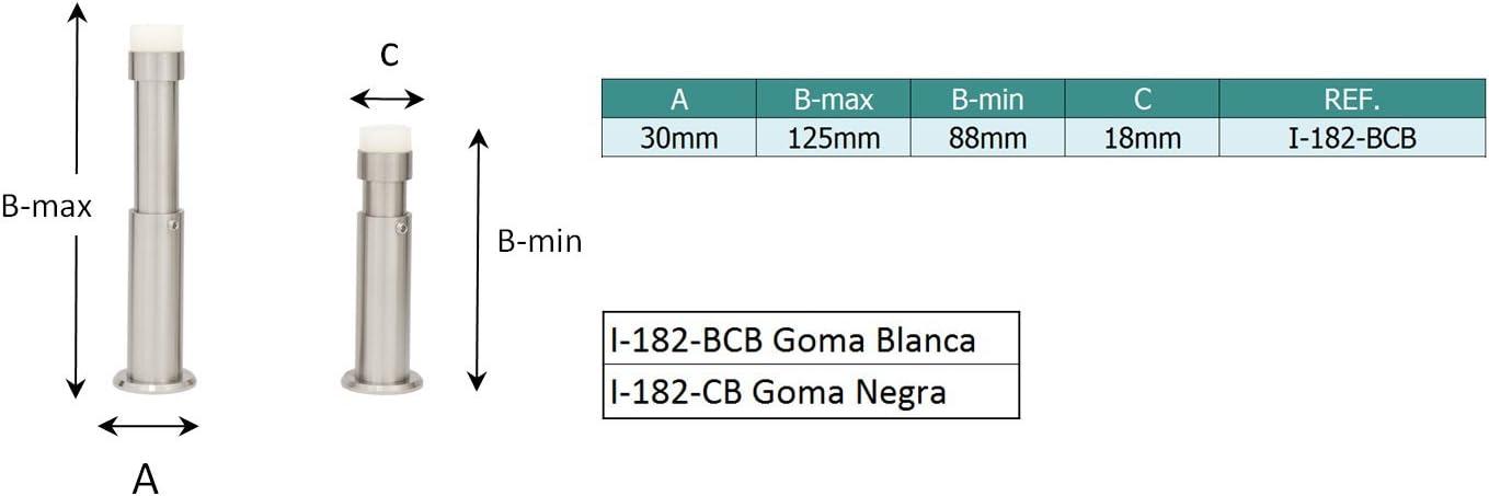Wei/ßer Gummi nouveau 88-120mm Blanc EVI Herrajes 040182TPRAM Arr/êt en caoutchouc