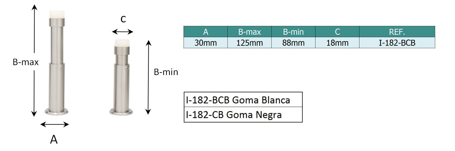 EVI Herrajes I-182-BCB Tope de Pared para Puerta, Silicona Blanca Regulable 88-120mm (nuevo): Amazon.es: Bricolaje y herramientas