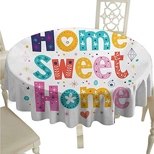 duommhome Home Sweet Home Spill-Proof Tablecloth Typography Lettering in Lively Colors and Floral Elements Diamonds Hearts Easy Care D71 Multicolor