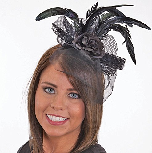 Jacobson Hat Company J24612 (Black) Feather Headband with Black Rose & Lace