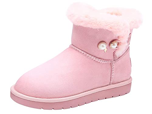 CAMEL CROWN Damen Stiefeletten Winterstiefel mädchen warme Schlupfstiefel  aus 17mm Kunstfell Rutschfest Boots Winter 5in hoch f522a7f162