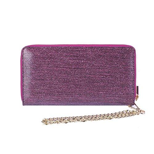 Women RFID Blocking Wallet Genuine Leather Zip Around Clutch Ladies Purse Wristlet (Purple Luxury Shiny Leather)