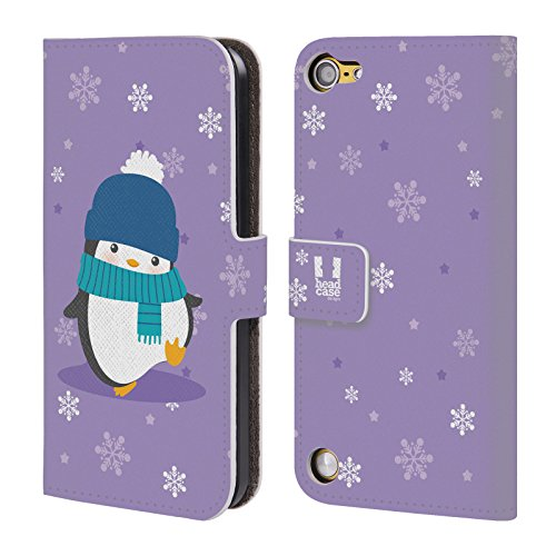 Head Case Designs Porpora Pinguini Natalizi Kawaii Cover a portafoglio in pelle per iPod Touch 5th Gen / 6th Gen