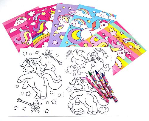 - Unicorn Coloring Books with Crayons Party Favors, Set of 12