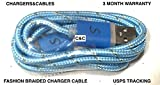 C&C BRAIDED FLASHING LED LIGHTS USB Data Sync Charger Cable For Samsung Galaxy s3,s4,s6, note 2,4,5, LG, Motorola, HTC, ALL MICRO USB (BABY BLUE)