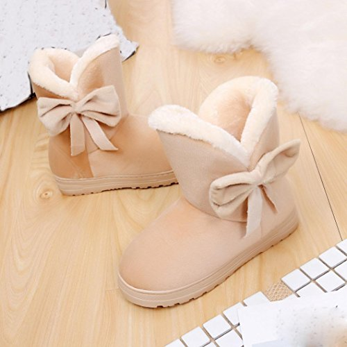 Kolylong Flats Snow Women Bowknot Boots Winter Beige Shoes Warm 1BRH1