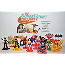 DC Super Friend Hero Girls Deluxe Party Favors Goody Bag Fillers Set of 14 with Figures, a Tattoo Sheet, ToyRing Featuring Harley Quinn, Wonder Woman, Supergirl, Catwoman and More!