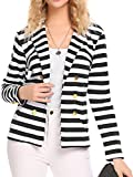 Nagoo Naggoo Womens Blazers Casual Open Front Cardigan suit jacket Coat Cotton (L, Black and White)