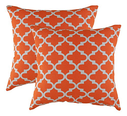 TreeWool, (2 Pack) Throw Pillow Covers Trellis Accent in Cotton Canvas (18 x 18 Inches; Orange & - Grey Orange