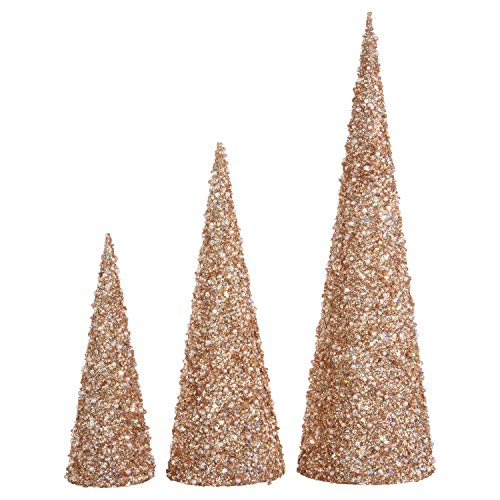 Jeweled Christmas Tree - Raz 22 Inch, 17 Inch and 12 Inch High Jeweled Glittered Cone Christmas Trees Set of 3 - Champagne Gold