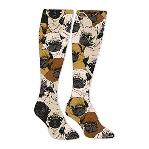 - Pug Athletic Socks Knee High Socks For Men&Women Warmer Stockings Sport Long Sock Tube Long Stockings Casual Socks