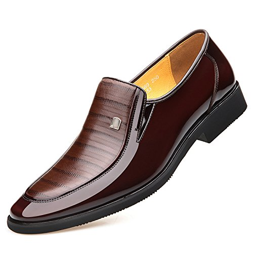 NIUWJ Hommes Jeunes Affaires Occasionnels Mode Gentleman Patent Leather Chaussures en Cuir Brown HIYsh