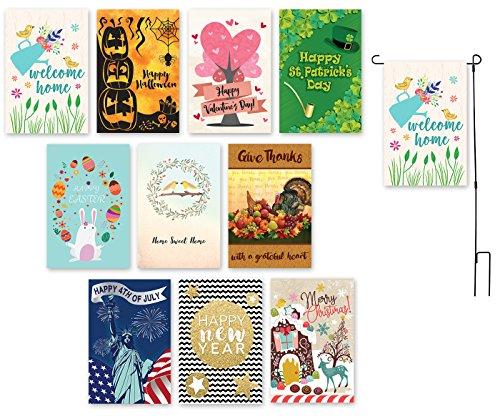 Garden Flags - 10 Pack Decorative Seasonal Festive Holiday H