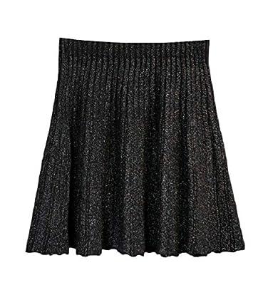 CBTLVSN Women's Basic Elastic Waist Stretchy Casual Knit Flared Mini Skater Skirt