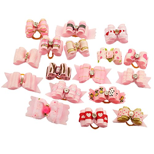 BysitShow Mixed Styles Pet Cat Puppy Topknot Small Dog Hair Bows With Rubber Bands Grooming Accessories Pink Pack of 20