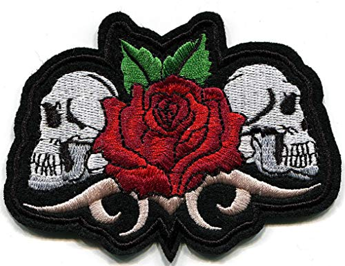 SRETAN 10 Pcs Sticker Iron on Patch Red Black Green White Rose Skull Punk Fabric Sew On Embroidered Hole Decor Bag Cap Shoe Clothing DIY Stripes Biker Home Office Shop Size 3.93 x 2.95 inch