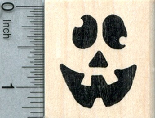 Halloween Face Rubber Stamp, Goofy Expression