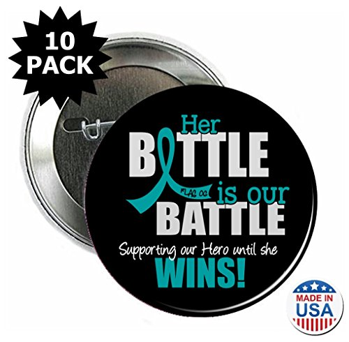 Fight Like a Girl Our Battle Too Round Buttons/Pins/Badges, 10-Pack Teal - Button 2.25 Round Her