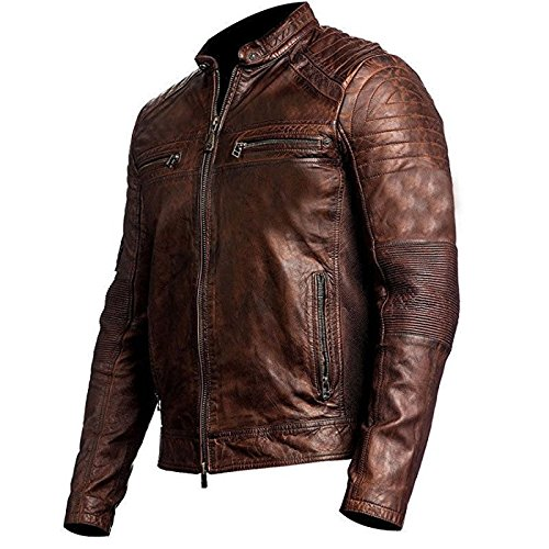 Distressed Racer Slimfit Fashion Motorcyle Cafe Leather Jacket Vintage Mens First Brown qFp7AT