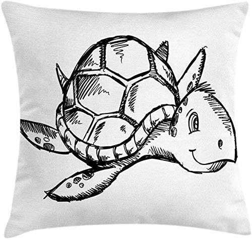 """HFYZT Sketch Art Throw Pillow Cushion Cover, Hand Drawing Themed Illustration of Sea Turtle Underwater Animal, Decorative Square Accent Pillow Case, 18"""" X 18"""", Charcoal Grey and White"""