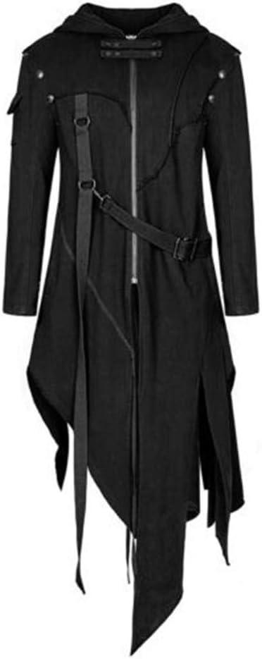 2020 Mens Vintage Zipper Up Asymmetrical Hoodie Jacket,Irregular LonglineRetro Punk Style Party Outwear Coat