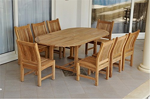 Anderson Teak Oval Extension Table & Sahara Dining Chair Set, 87