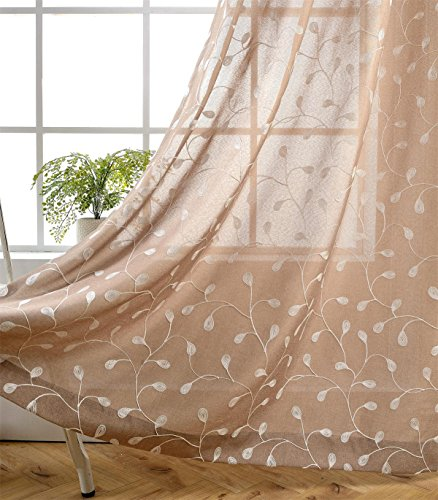 Miuco Floral Embroidered Semi Sheer Curtains Faux Linen Grommet Curtains for Living Room 52 x 84 Inch 2 Panels Set, Taupe