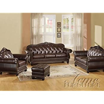Amazon.Com: Anondale 4-Pc Leather Sofa Set By Acme: Kitchen & Dining